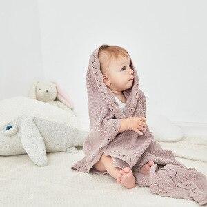 Image 2 - Baby Blankets 100%Cotton Knitted Newborn Bebes Swaddle Wrapper Solid Color Infant Crib Bedding Blanket Children Stroller Quilts