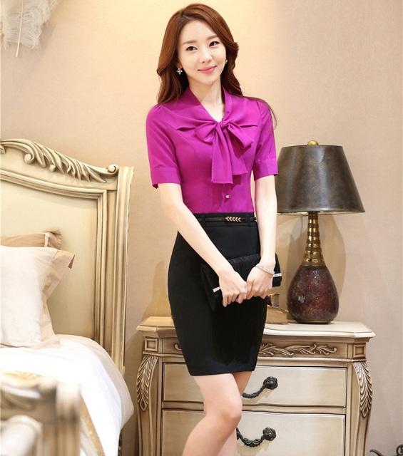 Formal Mulheres de Negócios Ternos Estilos Uniformes Profissional Com Blusas E Saia Do Escritório Senhoras Camisas Femininas Blusas Conjuntos