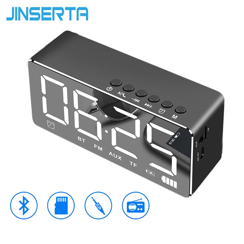 JINSERTA Portable FM Radio with Alarm Clock LED Light Mirror Smart Bluetooth Speaker Portable Music Player Built-in TF Card Slot ws 980 car model style portable 2 channel rgb light speaker w fm tf black transparent