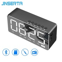 JINSERTA Portable FM Radio with Alarm Clock LED Light Mirror Smart Bluetooth Speaker Portable Music Player Built in TF Card Slot