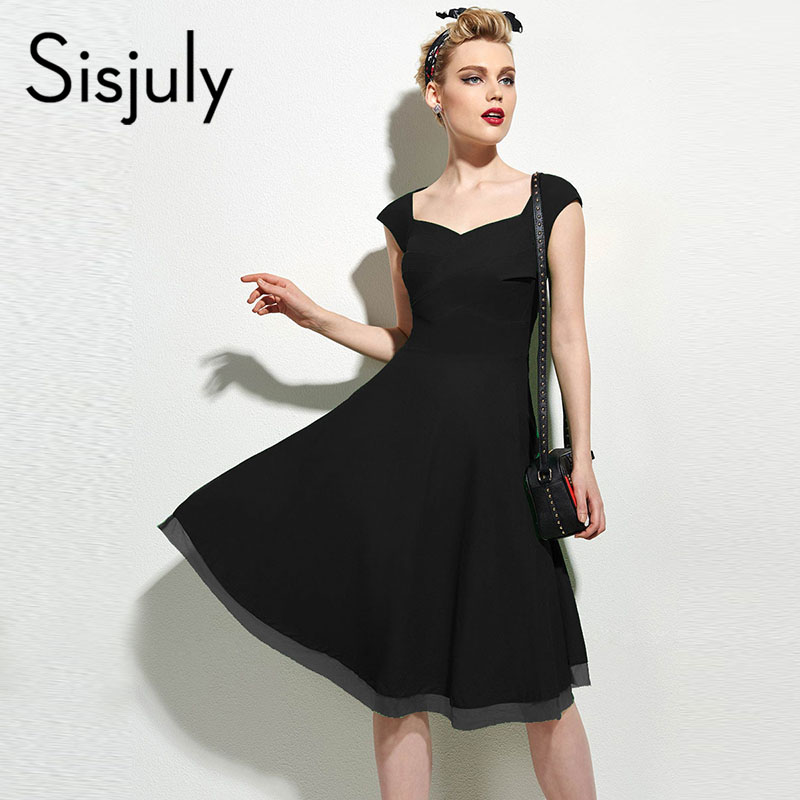 Sisjuly women retro dress summer a-line zipper plain red v-neck empire elegant ladies party vintage knee-length solid dresses