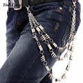 Three Layers Trousers Chain Coil Spring Rivet Bead Silver Metal Key Wallet  Chain  Punk Men Women Fashion Jeans Belt Chain KB32