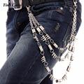 Tres Capas Pantalones Cadena Bobina Primavera Remache de Plata del Grano del Metal Carpeta dominante Cadena de Punk Mujeres de Los Hombres Jeans de Moda Cinturón de Cadena KB32