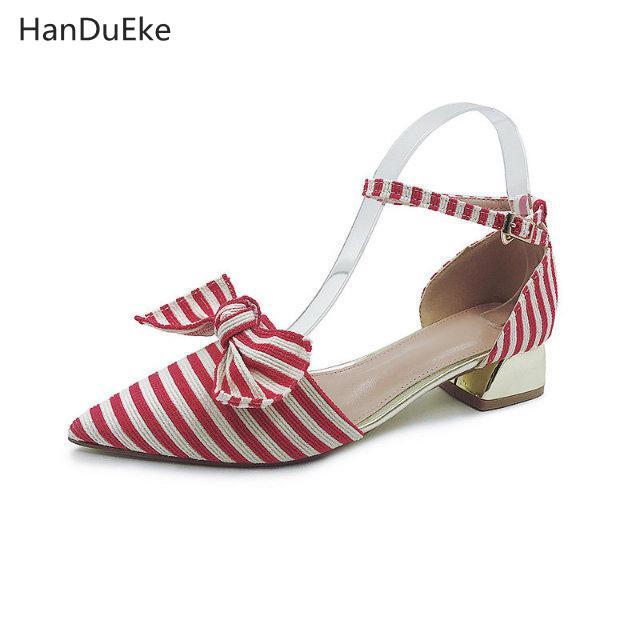 Rayas rojo Sandalias 2018 Baotou Nueva Obstruir Gruesa Verano Señaló Playa Dulce Coreana Hebillas Versión Negro Zapatos Mujer Pajaritas dITwTrUq