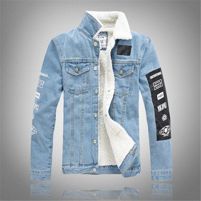 5d281aaca7d68f 2017 inverno stile new fashion alphabet stampa agnello giacca di jeans uomo  slim cappotto di cachemire