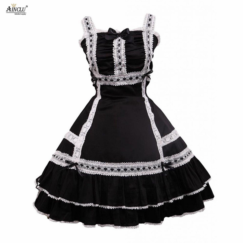 Middle-Long Dress Womens Cotton Black Sleeveless Lace Classic A-line Lolita Dress With White lacy/Bow Casual Bubble Lolita Dress