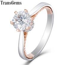Transgems 14 k branco e ouro rosa 1ct 6.5mm moissanite anel de noivado para casamento feminino sólido dois tons senhoras anel
