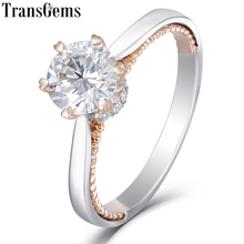 Transgems 14K לבן ועלה זהב 1ct 6.5mm Moissanite אירוסין טבעת עבור נשים חתונה מוצק שני גוונים גבירותיי טבעת