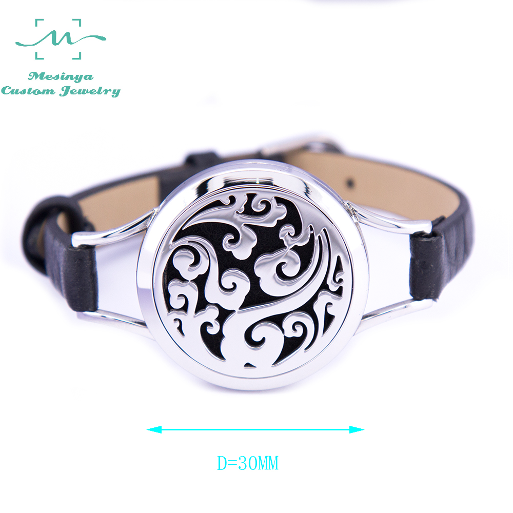 1piece Genuine Leather 30mm Ocean Swirl Aromatherapy 316L S steel Essential Oils Diffuser Locket Bangle Bracelet