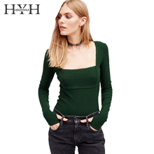 HYH HAOYIHUI 2018 Sexy Slim Top Women Sweaters Square Collar Knitted Pullover Sweater Spring Casual Brief Female