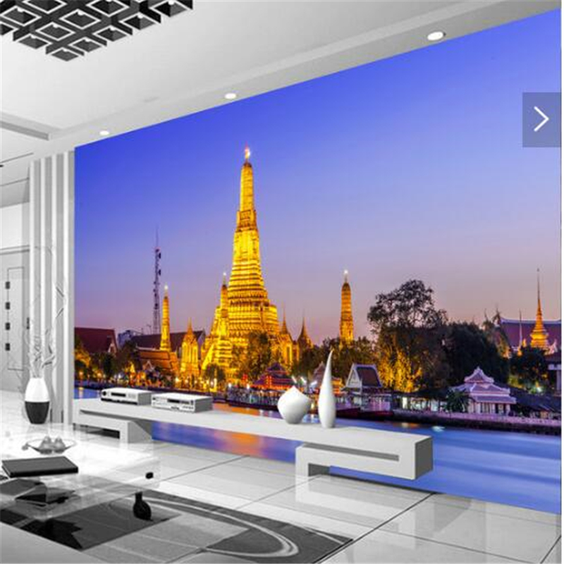 Beibehang  3d Stereo Large Murals Custom Photo Wallpapers Living Room Thailand Imperial Palace Building TV Backdrop Wallpaper 3d