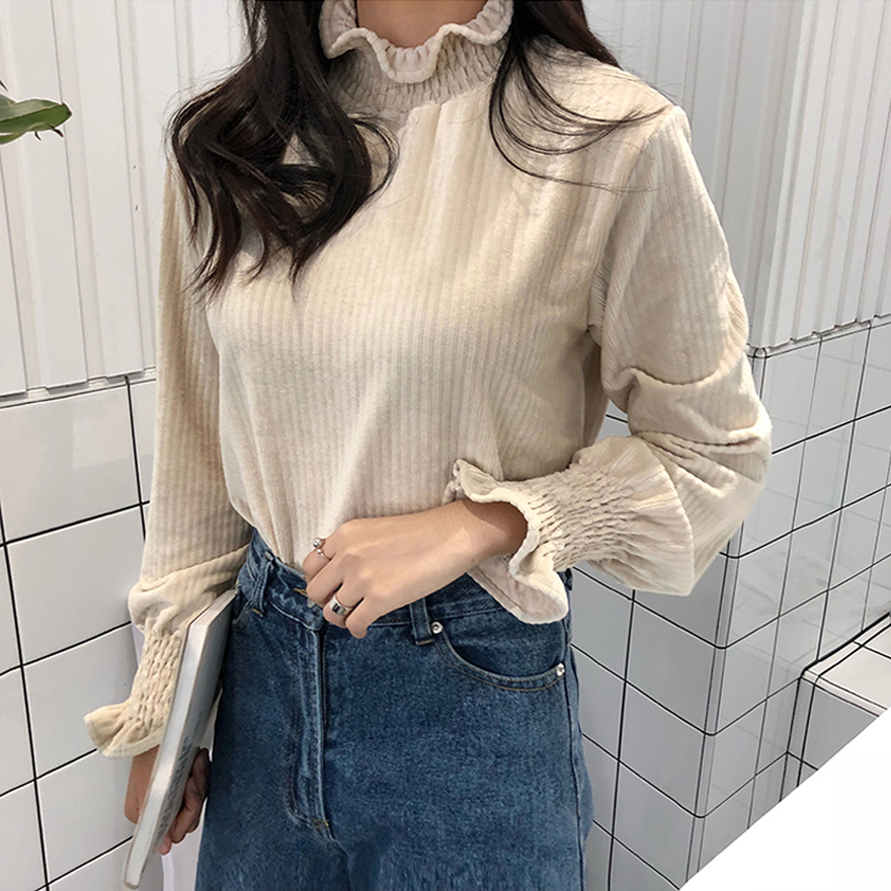 Turtleneck Ruffles Pleated Sleeve Women   Blouses     Shirt   Elegant Long Sleeve Solid Tees female casual tops chemise 2018