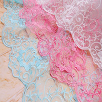 5yards 120cm Width Organza Jacquard Tulle Mesh Embroidered Wedding Clothing Accessories Lace Fabric DIY Handmade Lace