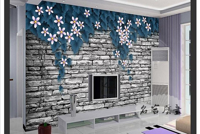 Sitting Room Kid S Tv Setting Wall Bedroom Wallpaper Photo Blue Rose Papel De
