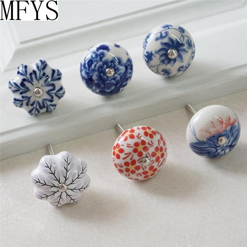 Ceramic Knobs Kitchen Cabinet Handles Dresser Knob Drawer Pulls / Colorful Cupboard Decorative Hardware
