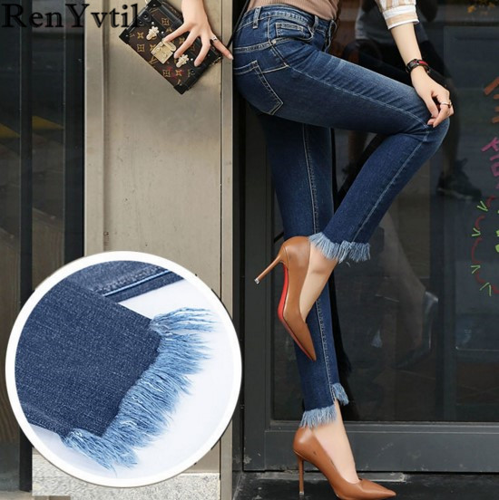 RenYvtil women jeans 2017 Slim full length denim pant Skinny Ripped Tassel pencil pants fashion Female Casual dark blue Trousers jeans men s blue slim fit fashion denim pencil pant high quality hole brand youth pop male cotton casual trousers pant gent life