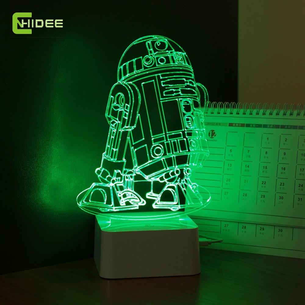 Star Wars Lamp 3D Visual Led Night Lights for Kids Robot R2 D2 ...
