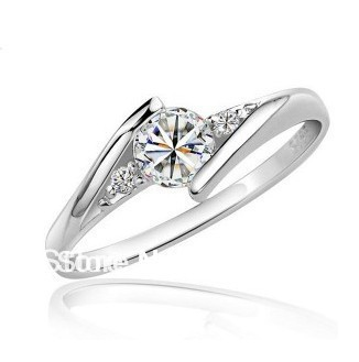 Free shipping fashion 925 sterling silver Cubic Zircon diamond jewelry wedding finger ring female diamond ring