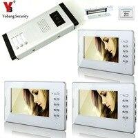 Yobangsecurity проводной замок 7 телефон видео домофон Системы 3 мониторы 1 Камера 3 единицы вилла квартира домофон