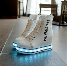 Fashion led light women shoes Colorful USB charging LED lights Shoes luminous shoes for adults High-top shoes