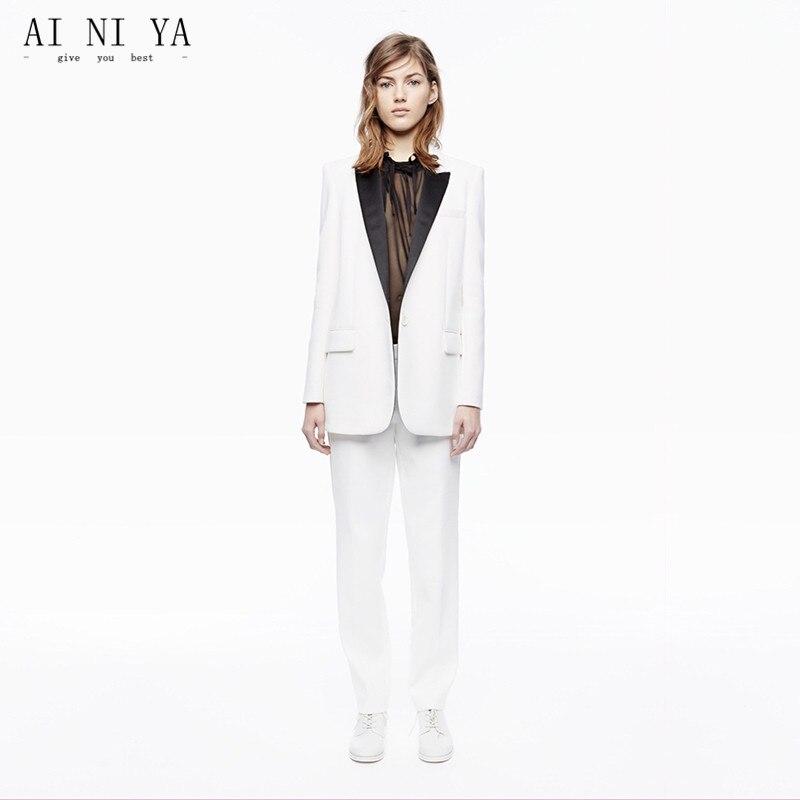 newest 98b55 62d19 US $90.09 9% di SCONTO|New White Business Women Pant Abiti Pantaloni  Femminili Vestito Nero Risvolto Autunno Inverno Professionale Tailleur  Pantalone ...