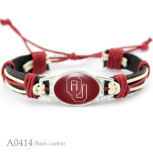 (10 PCS/lot) Oklahoma Sooners Adjustable Leather Cuff Bracelet for Athletic Team Mens Sports Wristband Jewelry