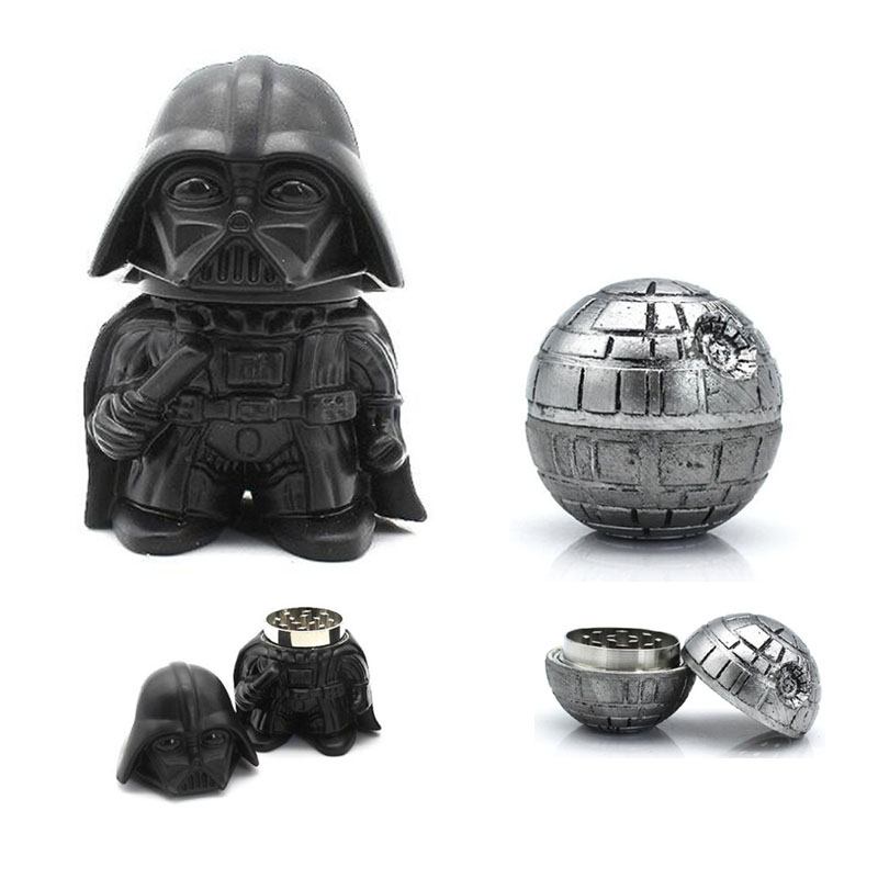 Star Wars Black Warrior Darth Vader / Death Star Metal Zinc Alloy Herb Weed Grinder Hand Tobacco Spice Crusher Smoking Tools
