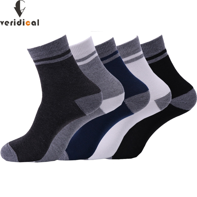 VERIDICAL 5 Pairs/lot Men Socks Cotton Long Business Harajuku Cheap Socks Mans Work Meias Masculino Calcetines Good Quality