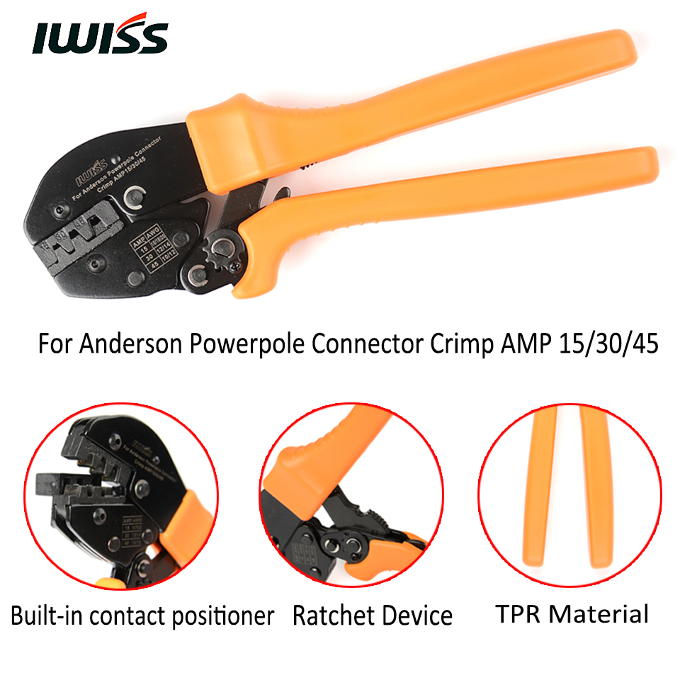 IWISS Ratcheting Wire Crimping Tool for 15,30 and 45 Amp Connector