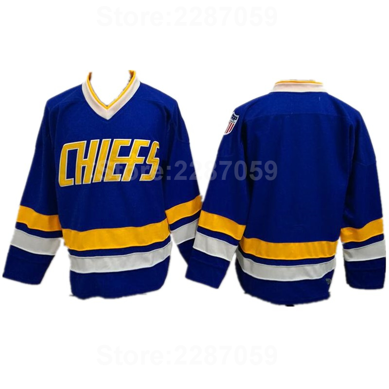 Ediwallen Hottest Charlestown Chiefs Ice Hockey Jerseys Blank Blue White Slap Shot Movie Embroidery And Sewing For Man