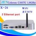 Mini pc Celeron C1037U computador 2 RJ-45 suporte de thin client win7, Linux, Windows xp, Windows 2003, Ubuntu Debian