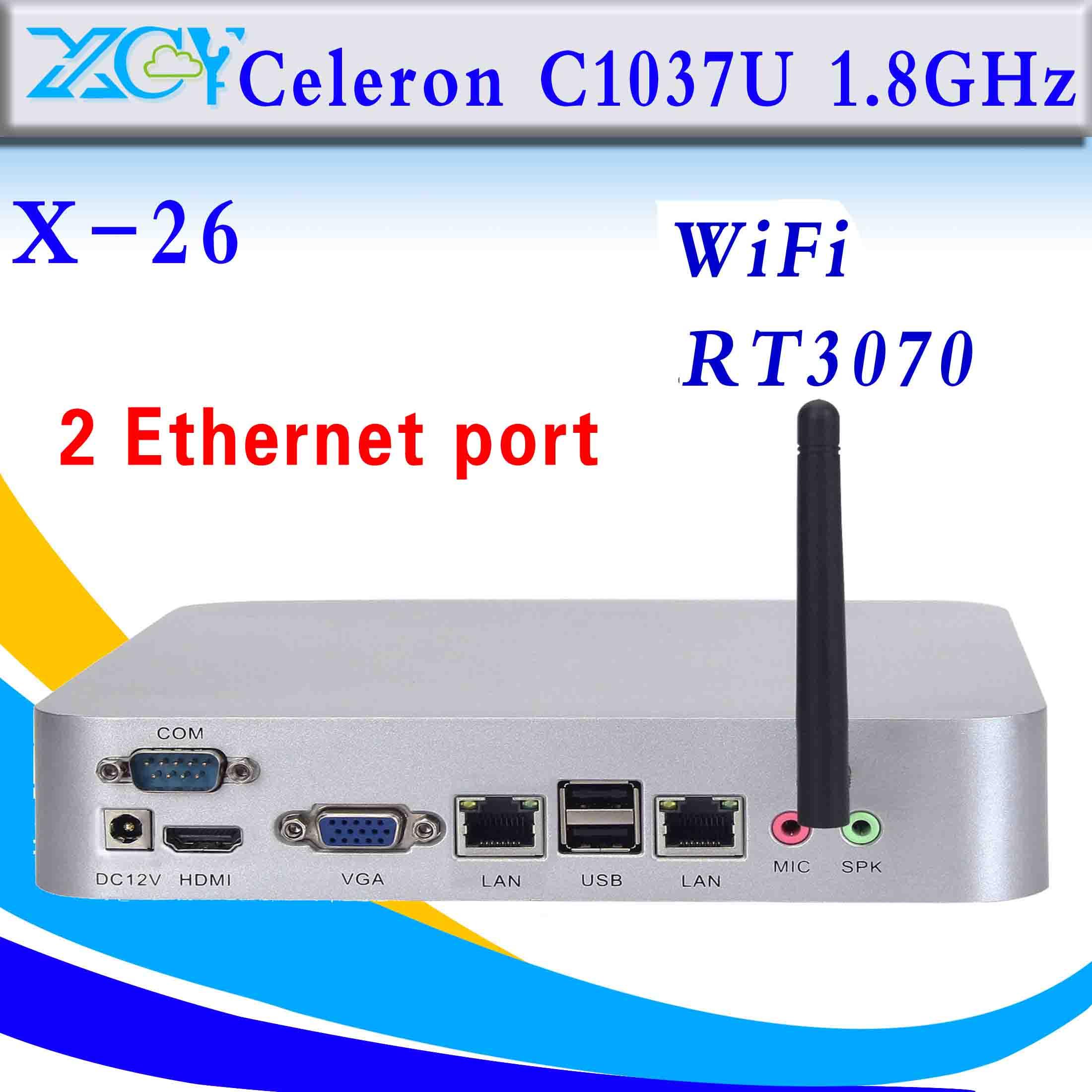 Mini pc Celeron C1037U ordenador 2 RJ-45 soporte de cliente ligero win7, linux,