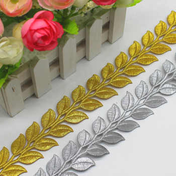 YACKALASI 6 Yard/Lot Gold Cosplay Costume Braid Embroidered Lace Diy Applique Trims Iron On Gold and Sliver Metallic Lace 3.8CM