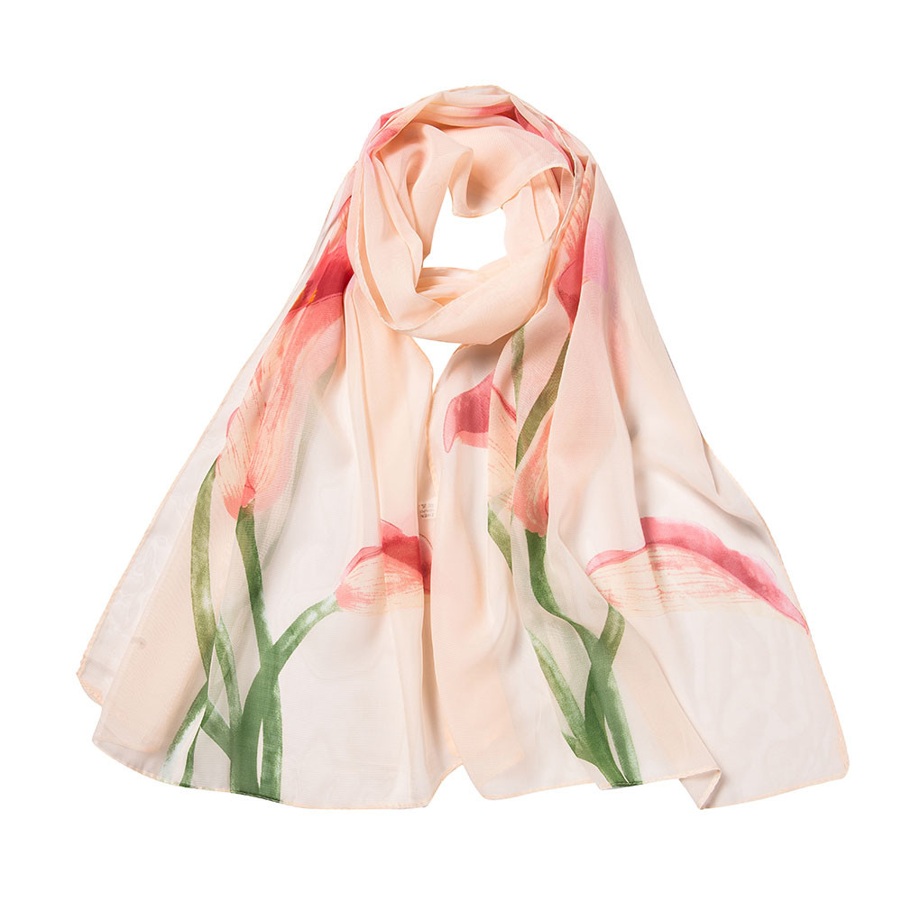 KLV Fashion Women Flower Chiffon Printing Long Soft Wrap Scarf Shawl Scarves Adult High Quality White,Pink,Beige,Hot Pink Z0928