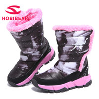 HOBIBEAR Winter Boots For Girls Children Shoes Fashion 2018 warm black pink shoes hot sale red boots kids shoes