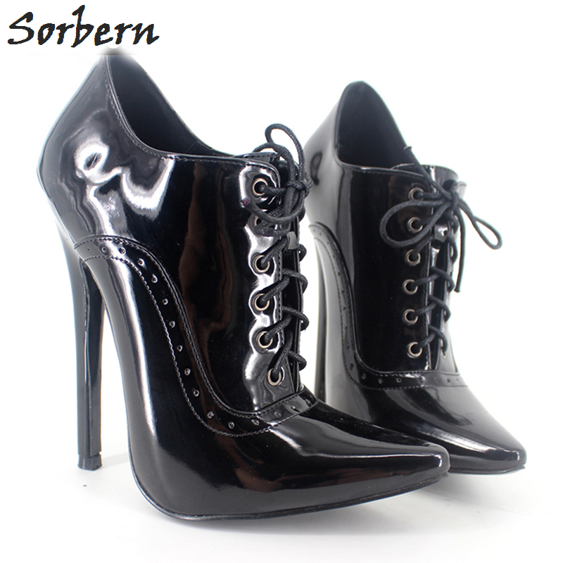 Sorbern Ankle Boots For Women 18CM High Heels Unisex Party Boots Gay Dance Shoes Patent Leather Custom Made Color Pointed Toe czrbt retro style pointed toe genuine leather women ankle boots high heels 6 5cm patent leather deep color women casual shoes