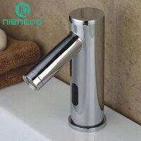 NIENENG touch free faucet automatic sensor faucets bathroom sink mixer water basin mixer torneiras brass taps batedeira ICD60261