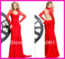 2014 New Arrival Red Long Sleeve Lace Backless Mermaid Pageant Prom Evening Dresses E3917