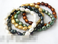 Hot sell Noble FREE SHIPPING>>>@@ > 01468 White Black Green Coffee Champagne Baroque Freshwater pearl Stretch Bracelets