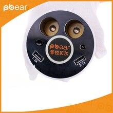 Pbear Original taza titular de la forma de 2 puertos USB y 2 tomas para encendedor de taza Taza del coche de Potencia de carga de Energía del encendedor de Cigarrillos adaptador