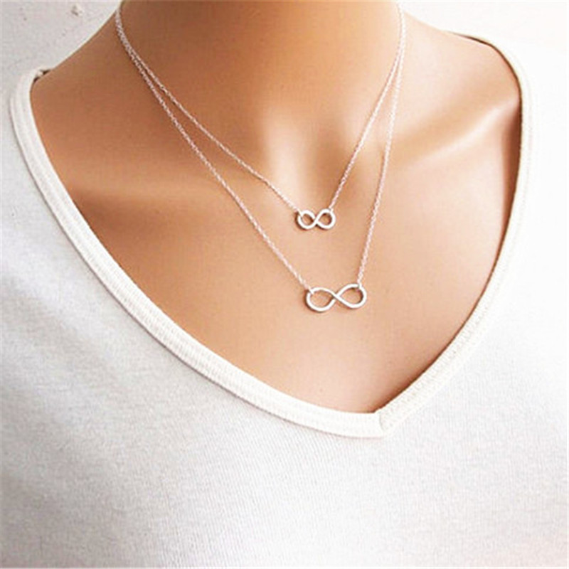 buy n668 gros collier femme 2017 multi layer necklace gold silver plated chain. Black Bedroom Furniture Sets. Home Design Ideas
