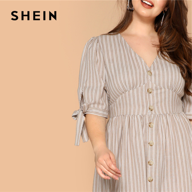 SHEIN Plus Size Multicolor Knot Cuff Button Up Striped Dress 2019 Women Summer Boho V Neck Half Sleeve Cotton Shift Long Dresses 4