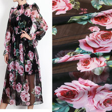 black color rose printed thin chiffon fabric,soft chiffon tissu DIY clothing for dress, beach dress chiffon tissu au metre