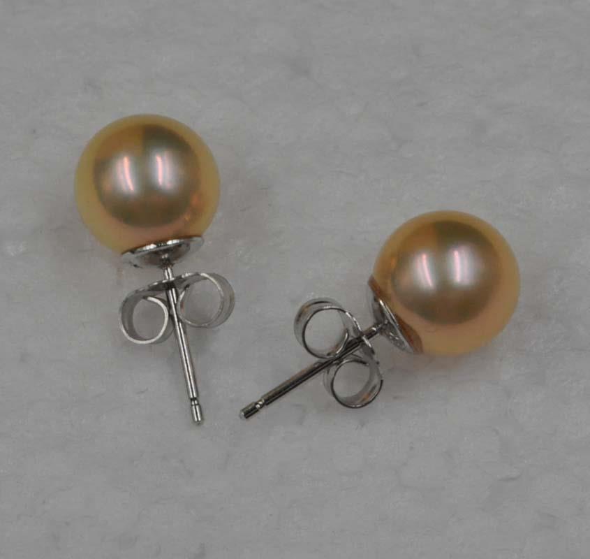 Magnifique lustre naturel couleur rare 8.5mm ronde perle en argent Sterling boucle d'oreille