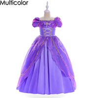 Multicolor Sofia Cinderella Rapunzel Girl Kid Short Sleeve Princess Dress Up Teenage Halloween Party Dresses For