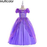 Multicolor Sofia Cinderella Rapunzel Girl Kid Short Sleeve Princess Dress Up Teenage Halloween Party Dress For