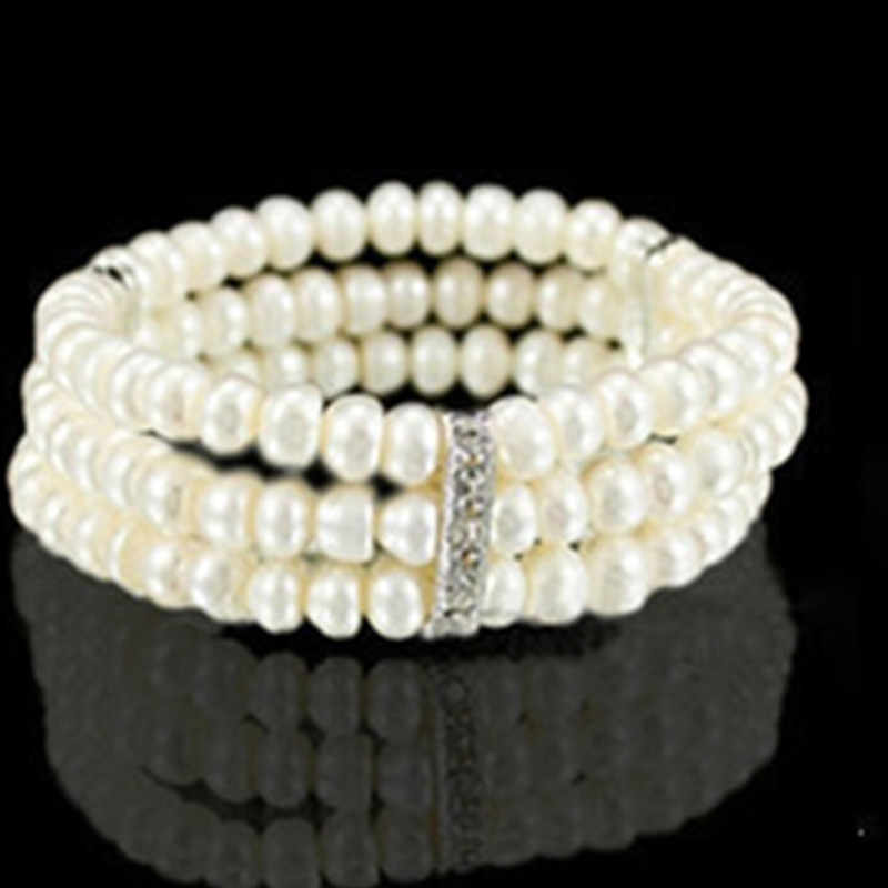 2019 Hot Fashion Elasticity Bracelet Simulated Pearl Multilayer Beaded Charm Wide Cuff Bracelets Bangles For Women Jewelry Gift