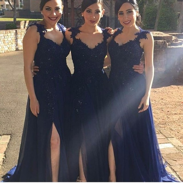 56bfacbe06 2017 Sexy Navy Blue Long Chiffon Bridesmaid Dresses With Straps Beades Lace  Appliques Bodice Split Wedding Party Gowns New Cheap