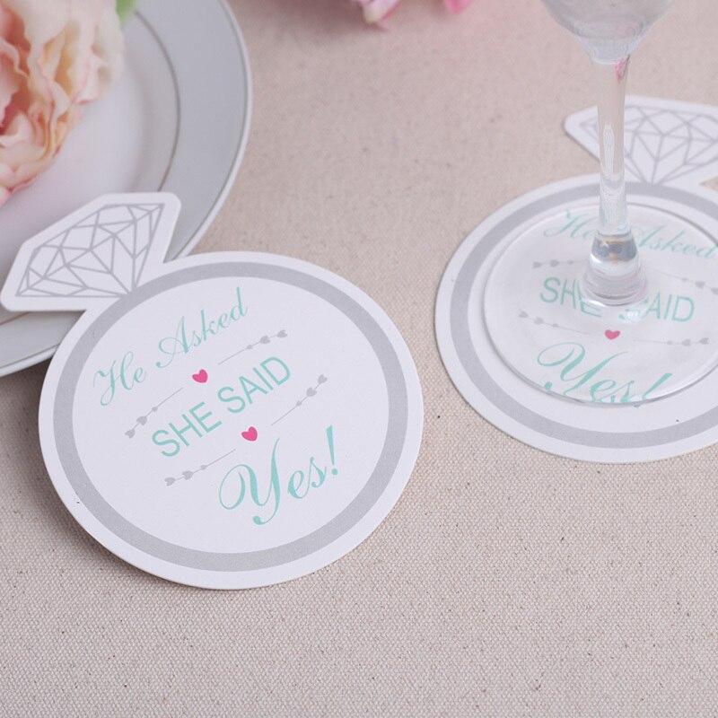 1200pcs100bagslotnewest style diamond ring design paper coasters wedding favors coasters