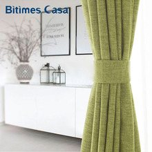 ФОТО genuine linen blackout window curtain solid color for living roon bedroom curtain grass grenn color elegant home decoration